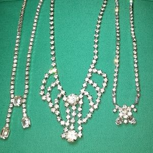 Vintage Rhinestone Necklace Trio